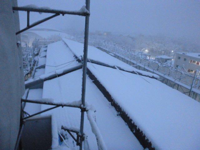 施工中 積雪