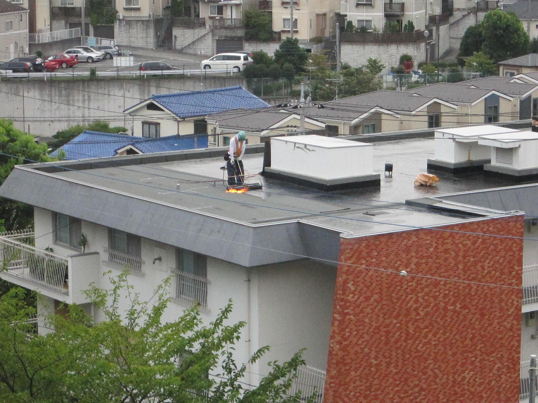 屋上防水 施工中