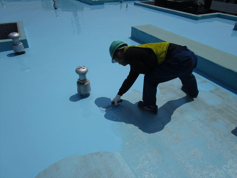 ウレタン塗膜防水 作業中